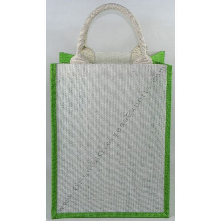 Basic Jute Bag With Cotton Web Handles. Price of bag includes cost of 1 (one) color printing work with up to 25% ink coverage.