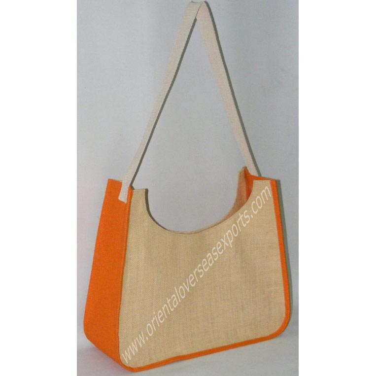 Jute Bag With Long Cotton Web Shoulder Handles.
