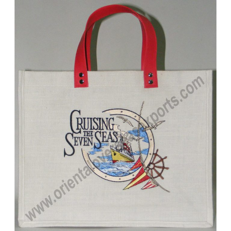 Jute CottonBag Embroidery With Fake Leather Handles