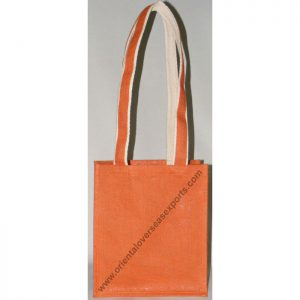 Jute Bag With Long Cotton Shoulder Handles.