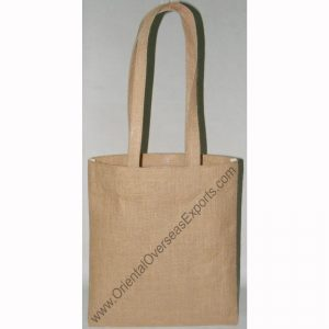 Un-laminated Natural Jute Tote Bag With Jute Shoulder Handles.