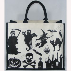 Halloween Jute Cotton Bag made from Dyed Jute Cotton Fabric with Long Lasting lamination inside