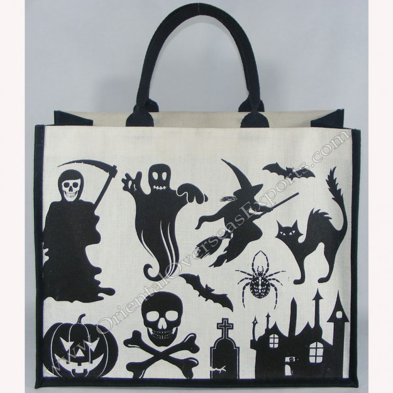 Halloween Jute Cotton Bag # 2218 - made from Dyed Jute Cotton Fabric with Long Lasting LDPE lamination