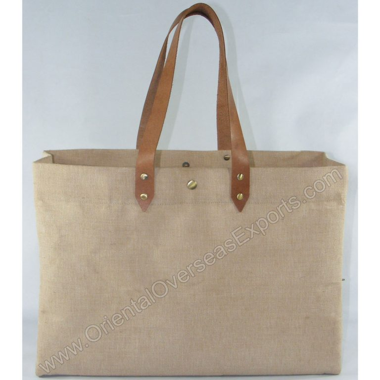 Elegant looking Juco Leather Bag, made from Natural Jute Cotton Fabric with Long Lasting LDPE lamination and Genuine Buffalo Leather Handles