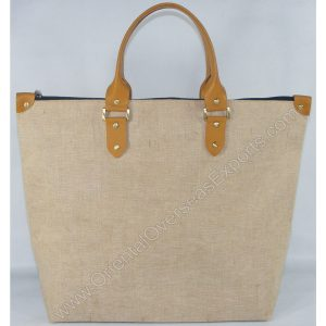 Elegant looking Jute Cotton Bag # 2262 with Leather Handles and Trims - made from Natural Jute Cotton Fabric with Long Lasting LDPE lamination - With Rich Satin Lining Inside.