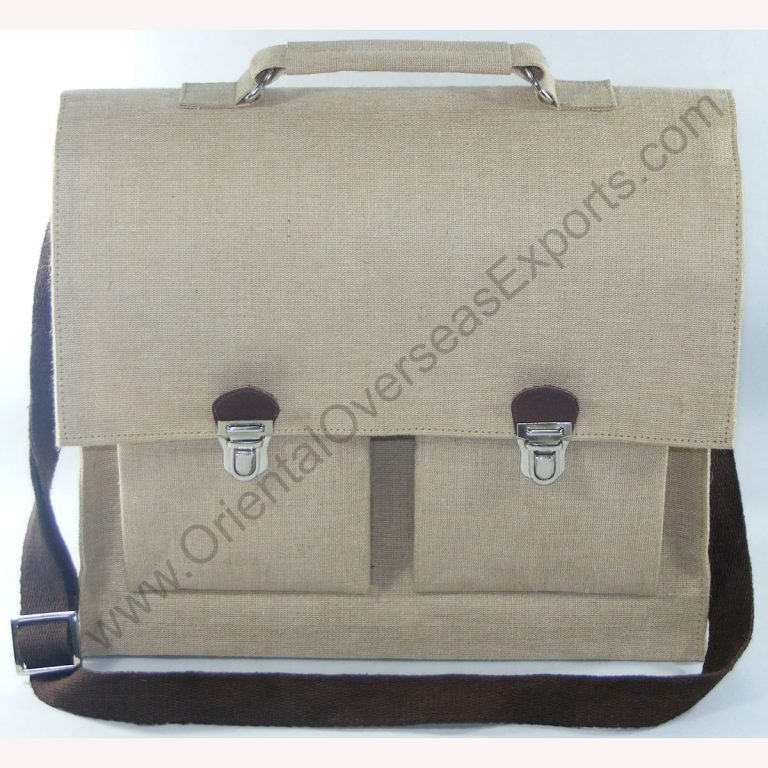 Elegant looking jute cotton school bag # 2238 made from Natural Jute Cotton Fabric with Long Lasting LDPE lamination
