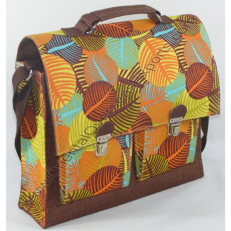Elegant Looking School Bag # 2250 Made from Laminated Jute Cotton and Laminated 14x 15way of Jute