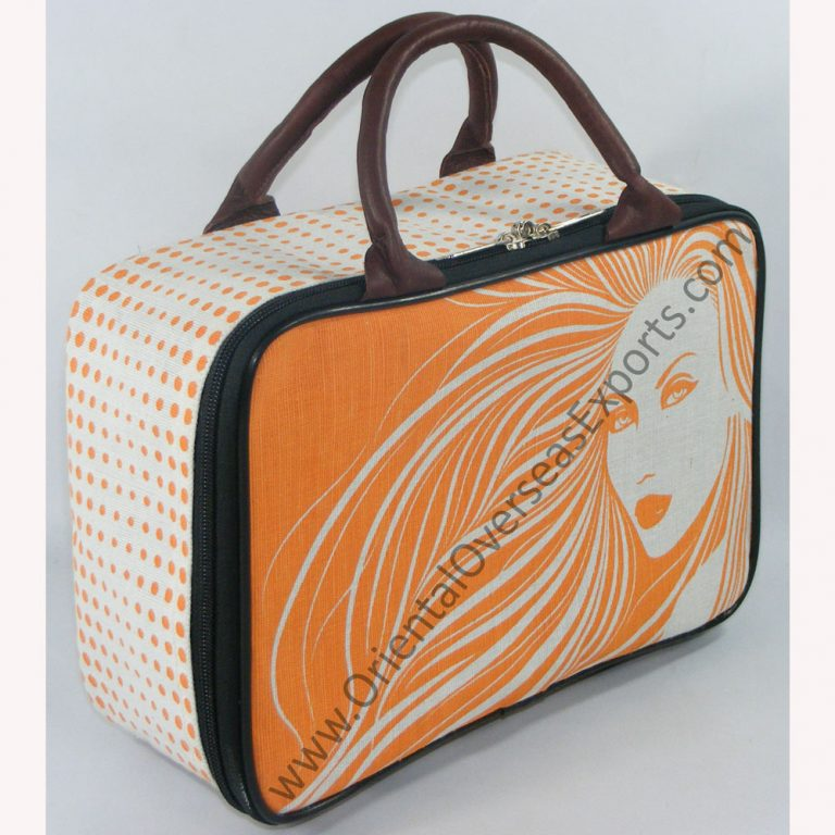 The Elegant looking printed suitcase with Genuine Leather Handles, Satin Lining inside, Plastic Foots on the bottom..