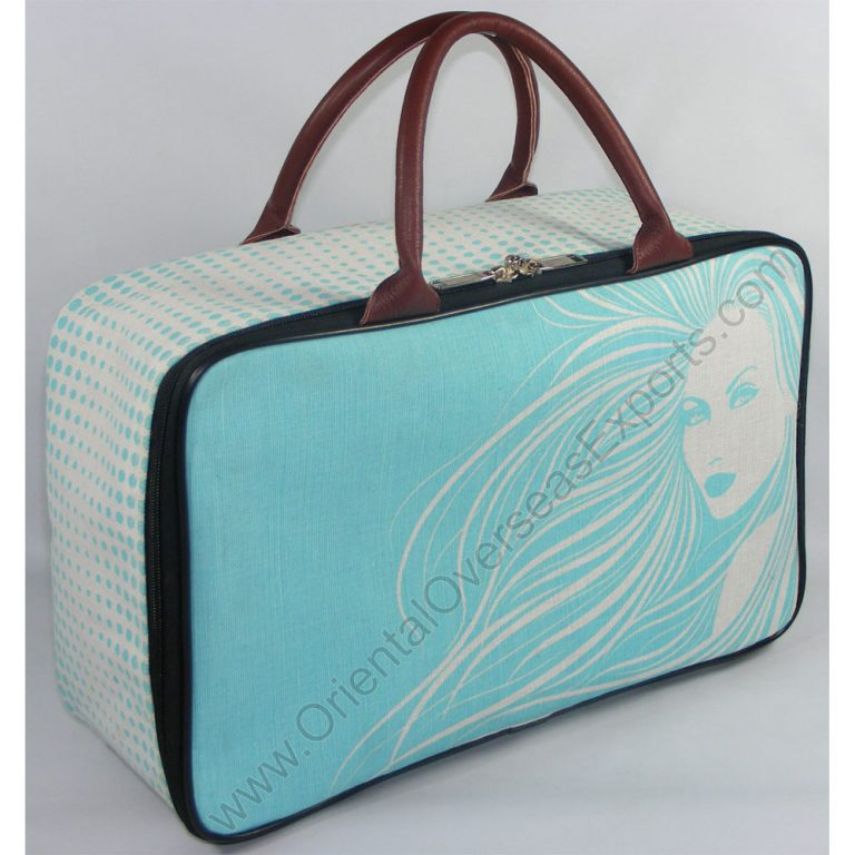The Elegant looking printed juco toy bag with Genuine Leather Handles, Satin Lining inside, Plastic Foots on the bottom.. this bag can be personalized in your required colors, logos & labels.