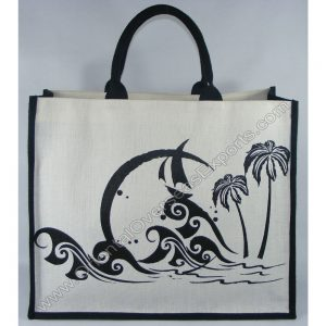 Elegant looking printed jute cotton beach bag with lamination inside # 2219 along with padded cotton web handles (padded with rope inside).