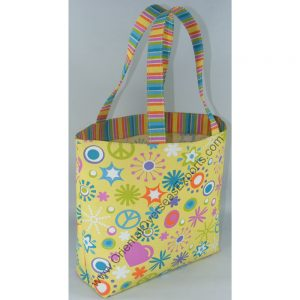 Elegant looking multi color printed bag - made from 10 Oz - 280 GSM - Laminated White Recycled Canvas