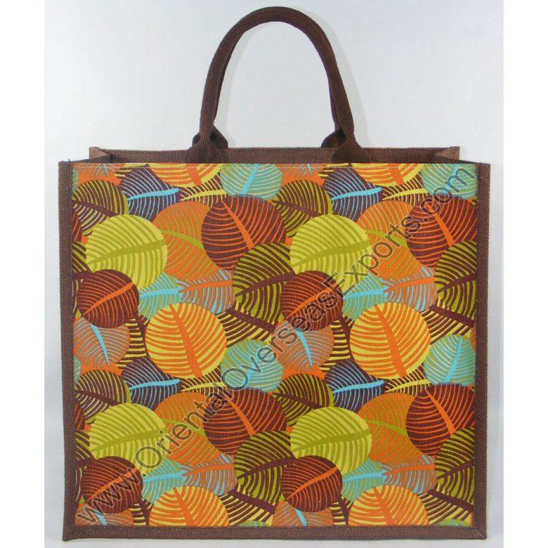 Elegant looking multi color printed jute bag # 2241 with Soft cotton Handles.