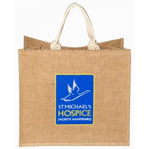Natural Jute Bag With Logo with Cotton Handles