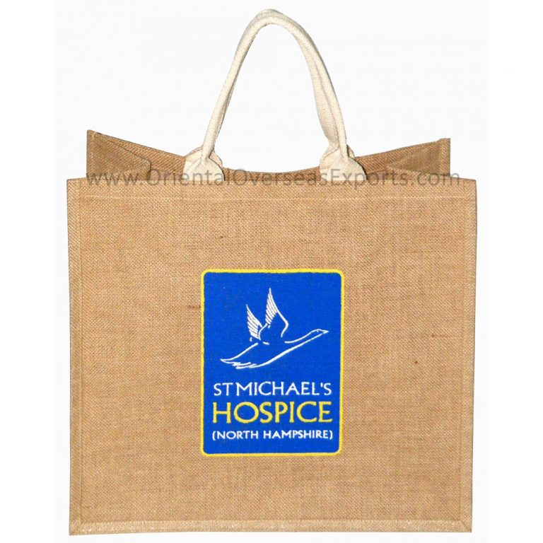 Natural Jute Bag With Logo withCotton Handles