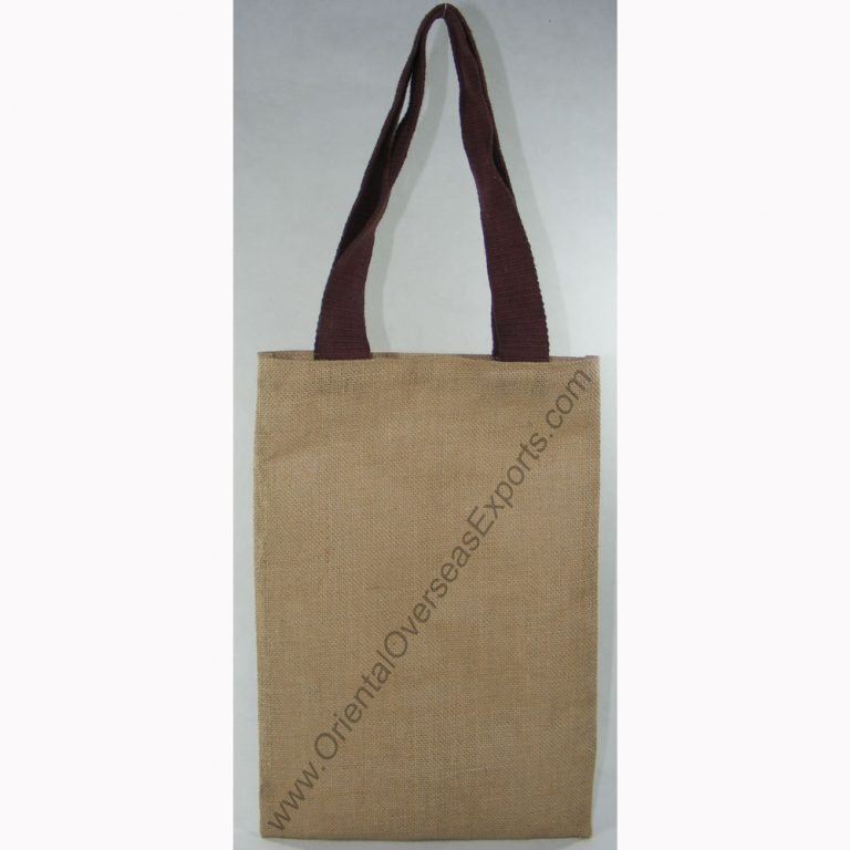 design and buy your own custom printed cheap natural jute tote bag with cotton handles online direct from factory based in india