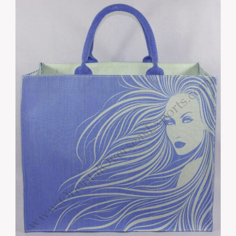 Elegant looking printed jute cotton bag # 2234 made from Dyed Jute Cotton Fabric with Long Lasting LDPE lamination