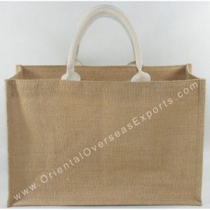 Natural Jute Bag With Soft Cotton Web Handles & an inside Jute Pocket