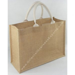 Natural Jute Bag With Soft Cotton Web Handles & an inside Jute Pocket - Price of bag includes cost of 1 (one) color printing work with upto 25% ink coverage.