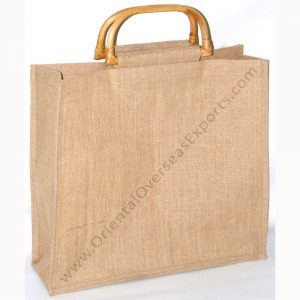 natural jute bag for promotion with wooden handles