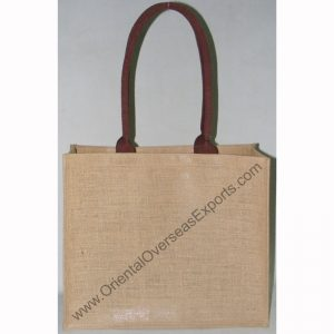 Natural Jute Bag # 2116 With Long Dyed Cotton Web Shoulder Handles
