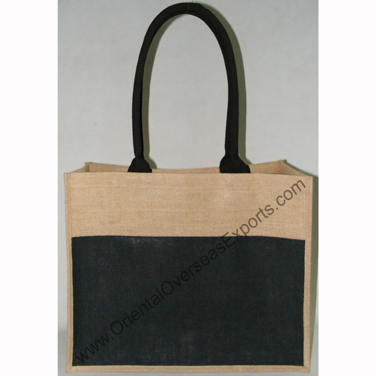 Jute Bag # 2117 With an Outside Pocket and with Long Dyed Cotton Web Shoulder Handles