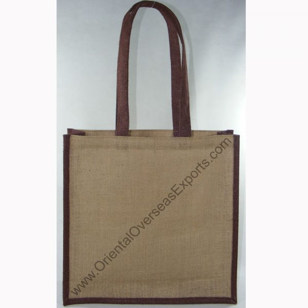 design and buy your own custom printed laminated jute carry bag with jute handles online in bulk at factory prices