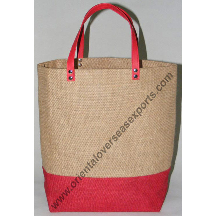 Jute Bag With PVC Leather look Handles