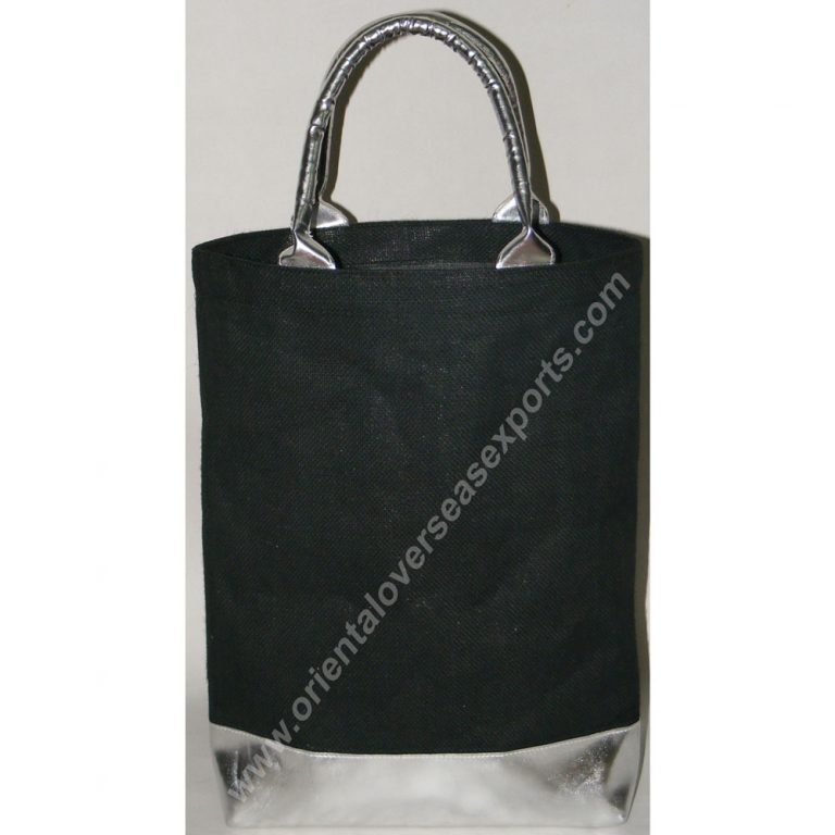 Jute Bag With Silver PVC Leather Look Handles and bottom
