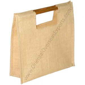 Elegant looking jute bag with bamboo handles # 2024 made from 14x 15way of Dyed jute with lamination Inside