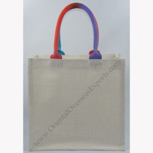 Elegant looking Jute Bag with Two Tone Cotton Handles - made from Dyed 14x 15way of jute with lamination Inside