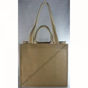 Jute Bag With Two Set of Handles, Cotton Web Handles