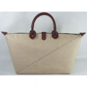 Laminated Jute Cotton Shopping Bag # 2198 with Real DDDM Leather handles and trims