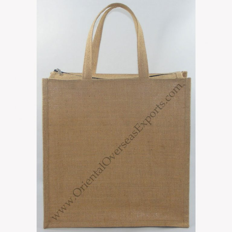 Elegant looking Jute Bag with Zipper Closure - with jute handles - Price of the bag includes cost of 1 color print. - Strong - Long Lasting - Value for money -