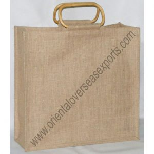 Jute Bag With Wooden Cane Handles