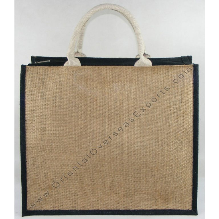 Jute Bag With Zipper # 2197 and Padded Cotton Handles (padded with rope inside) Price of bag includes cost of 1 (one) color printing work with up to 25% ink coverage.