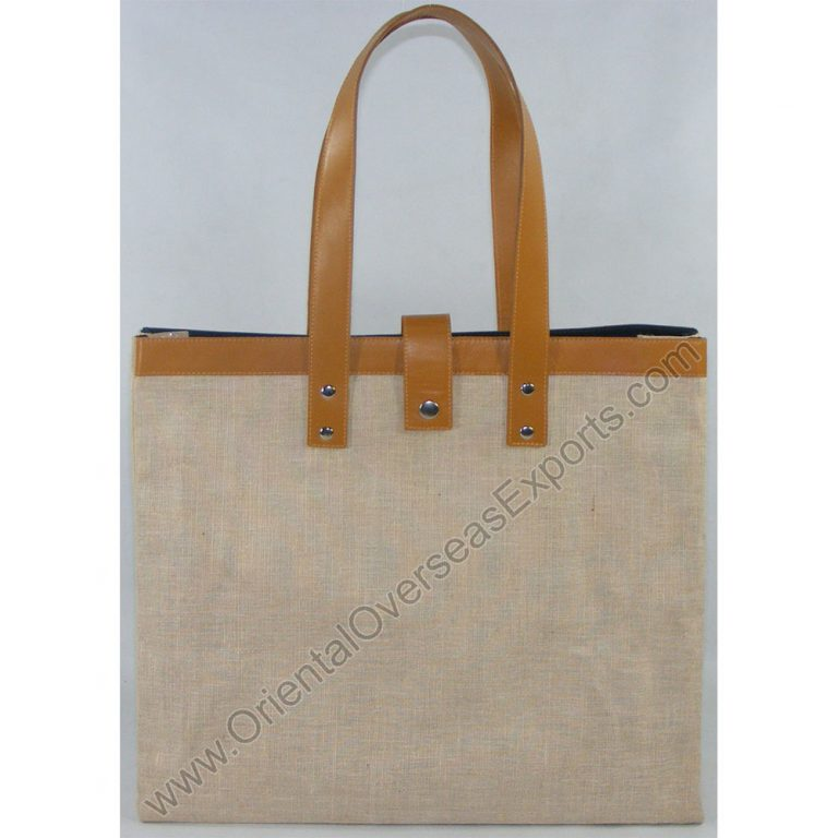 Luxury Jute Cotton Bag with Leather Handles