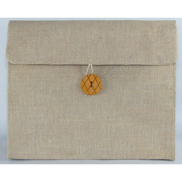 Elegant looking Jute Cotton Toilet Bag # 2259 made from Natural Jute Cotton Fabric with Long Lasting LDPE lamination Inside