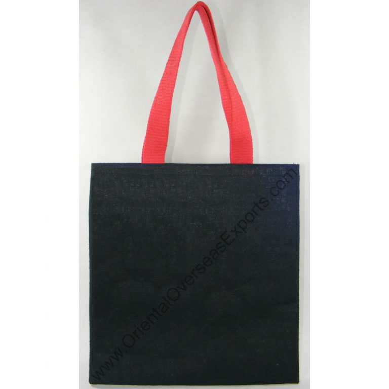 design and buy your own custom printed colored jute tote bag with cotton web handles online direct from factory based in india