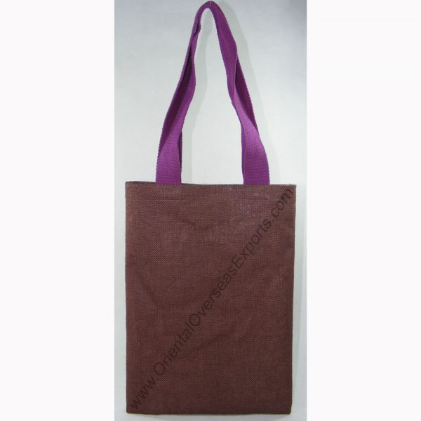 design and buy your own custom printed laminated dyed jute tote bag with cotton web handles online