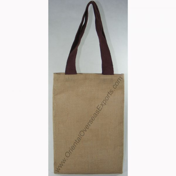 design and buy your own custom printed laminated natural jute tote bag with cotton web handles online