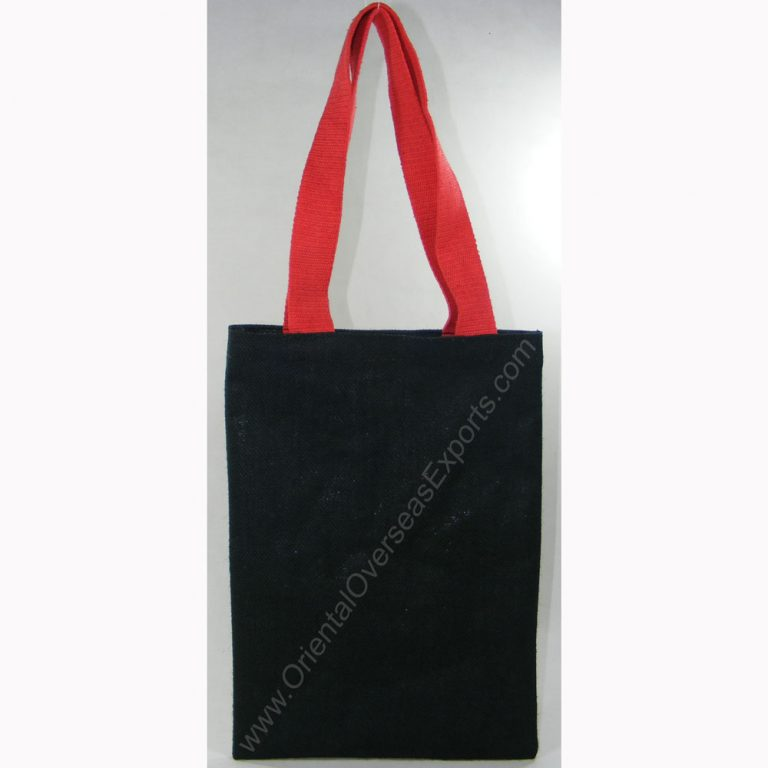 design and buy your own custom printed laminated colored jute tote bag with cotton web handles online