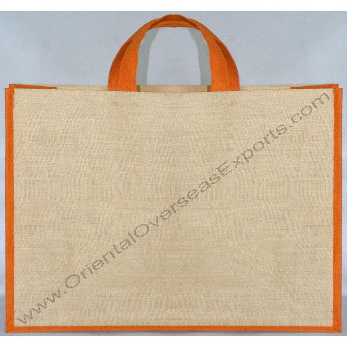 Large Laminated Jute Bag With Short Self Handles