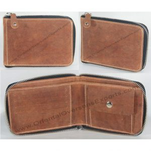 Zipper Wallet made from Genuine Cow Hunter Leather