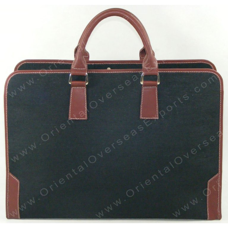 Elegant looking Luxury Jute Cotton Leather Office Portfolio made from Jute Cotton Fabric + Real Cow DDDM Leather handles and trims, along with luxury lining and multiple pockets inside