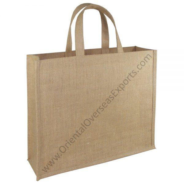 Natural Jute Bag With Short Jute Handles.