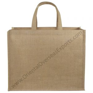 Natural Jute Bag With Short Jute Handles.