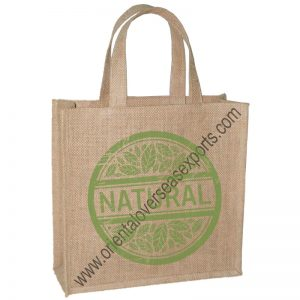 Jute Grocery Bag With Short Self Handles.