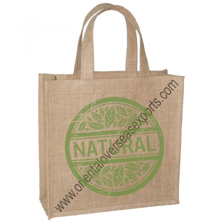 Jute Grocery Bag With Short Self Handles.