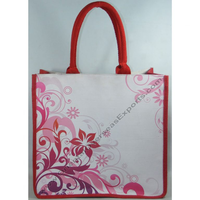Elegant looking printed jute cotton bag with padded cotton handles