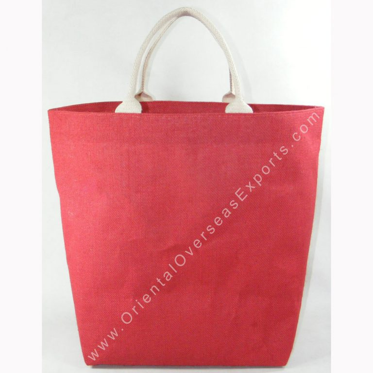 design and buy custom printed laminated promotion jute bag with cotton handles online in bulk at factory prices